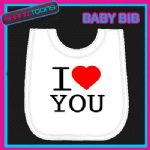 I LOVE HEART YOU WHITE BABY BIB EMBROIDERED